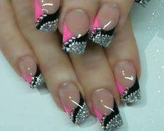 Pink, black and silver tip design