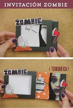 Tarjeta mágica que puedes hacer como invitación para Halloween y Día de muertos. ¡Zombie Party! #TutoCG