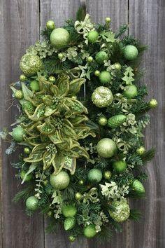 Apple Green Christmas, an oval Christmas wreath made with an oval work wreath form