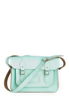 "Upwardly Mobile Satchel in Mint - 13"" - Green, Solid, Buckles, Pockets, Casual, Vintage Inspired, Pastel, Work"