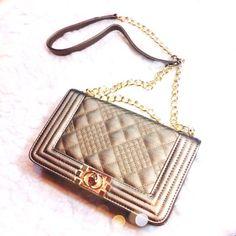 Handbags - Bronze Metallic Quilted Bag