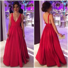 Red prom dress with deep v-neck,2017 prom dress