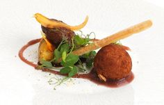 Pork cheek with crispy ham hock bon bon, crushed swede and mustard apple compote - Geoffrey Smeddle Pork Cheeks, Chopped Ham, Ham Hock, Great British Chefs, Baby Carrots, Oven Roast, Fish Sauce, Tray Bakes, Fine Dining