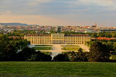 From the high hill, a view of The Dying Land, The Palace, and The Kingdom of Eternal Essen, Vienna, in the background. Schönbrunn Palace, Austria