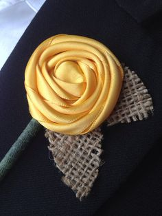 Yellow Satin Ribbon Boutonniere with Burlap Leaves