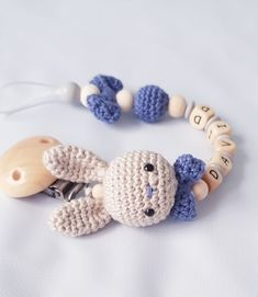 "crochet pacifier chain ""Hasi"" personalized, cute – pacifier chains – Accessories – Handmade with love in Espelkamp, ​​Germany by Becky`s Handmade Shop Crochet Bunny, Crochet Toys, Knit Crochet, How To Start Knitting, Learn To Crochet, Handmade Shop, Handmade Toys, Free Knitting, Baby Knitting"