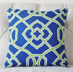 Decorative+Blue+Green+Pillow++Lime+Green+Royal+by+MotifPillows,+$43.00