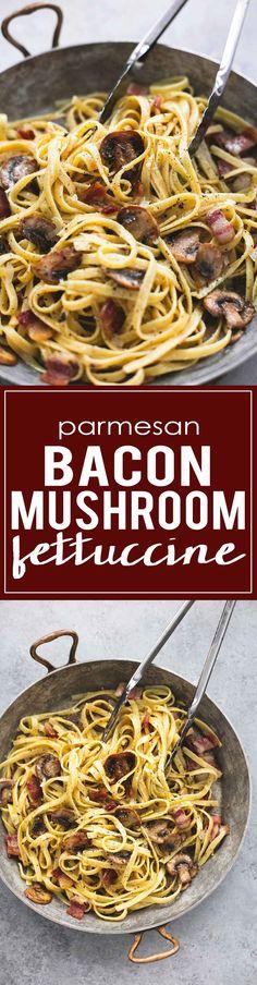 One Pan Parmesan Bacon Mushroom Fettuccine | http://lecremedelacrumb.com