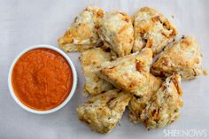 Pizza scones with dipping sauce   SheKnows