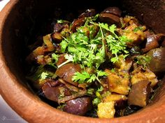 Brinjal subzi with coconut milk (cooked in clay pot) Clay Pots, Coconut Milk, Eggplant, Sausage, Vegetarian, Beef, Dishes, Cooking, Indie