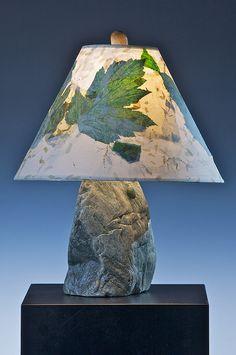 Green Argillite Stone Lamp & Handmade Shade