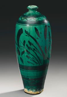 A GREEN-GLAZED PAINTED 'CIZHOU' VASE, MEIPING NORTHERN SONG / JIN DYNASTY - Sotheby's