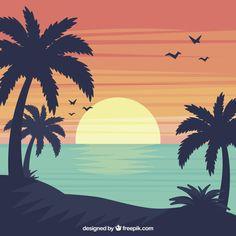 Summer landscape background in flat design Free Vector Art And Illustration, Design Plat, Flat Design, Web Design, Site Design, Landscape Background, Summer Landscape, Landscape Design, Surf Art