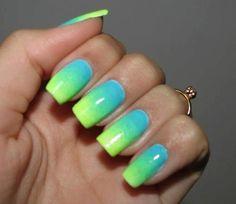Discover new and inspirational nail art for your short nail designs. Lime Green Nails, Green Nail Art, Blue Ombre Nails, Neon Nails, Fabulous Nails, Gorgeous Nails, Colorful Nail Designs, Nail Art Designs, Nail Deco