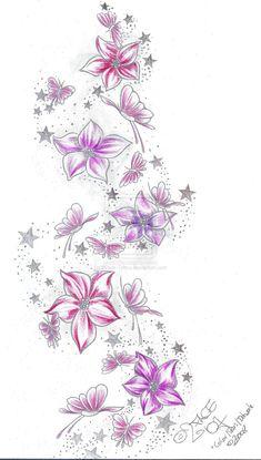 Stars Flower Butterflies Color by *2Face-Tattoo on deviantART