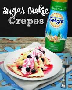 Need a fun holiday breakfast idea? Check out these easy peasy Sugar Cookie Crepes! Your kids are going to love it! Sugar Frosting, Cookie Frosting, Easy Teriyaki Chicken, Lemon Chicken, Peanut Butter Cookies, Sugar Cookies, Homemade Mozzarella Sticks, Donut Hole Recipe, Crescent Roll Pizza