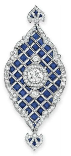 AN ART DECO SAPPHIRE AND DIAMOND PENDANT, ca. 1920 (image courtesy of Christie's)