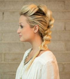 Pull Through Mohawk Braid hair tutorial: maybe frame the face with curls to polish it a bit??