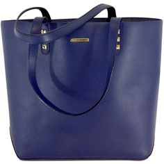Pre-owned Rebecca Minkoff Navy Leather Studded Tote ($100) ❤ liked on Polyvore featuring bags, handbags, tote bags, blue leather tote, leather handbag tote, leather tote, leather tote handbags and tote handbags