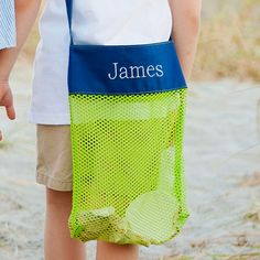 Shell Tote Monogrammed Green & Blue