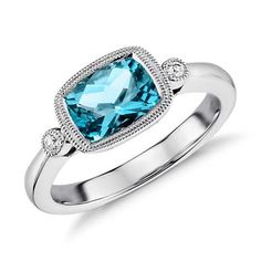 Blue Topaz and White Sapphire East West Milgrain Ring in Sterling Silver