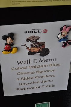 Disney movie night menu