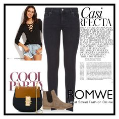 """""""ROMWE"""" by elmademirovic ❤ liked on Polyvore featuring Paige Denim, Chloé, Barneys New York and Whiteley"""