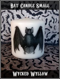 Bat Small Pillar Candle Goth Animal Spooky Creepy by WyckedWyllow
