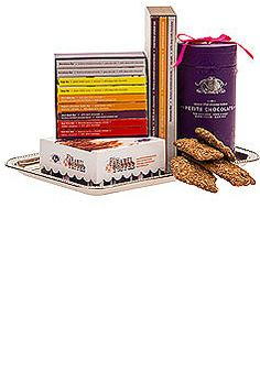 A variety of Vosges Haut-Chocolat, including a library of mini and large chocolate bars all served on a silver tray, $109.00 #chocolate #gifts #1877spirits