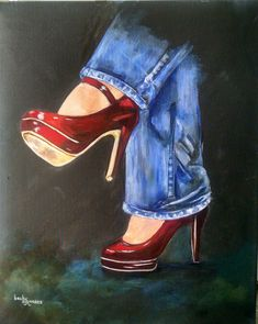 Red Shoes by Becky Simmons. Excellent painting. Love the highlights on the shoes and blended background.