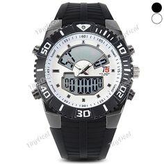 3atm водонепроницаемые часы Band т5 силикон мужчин смотреть аналоговый и цифровой дисплей смотреть в календарь WWT-403656