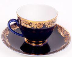 Vintage Lomonosov USSR Teacup & Saucer Cobalt Blue Gold Golden Frieze Pattern