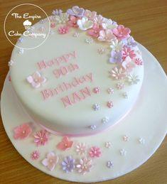 Pretty Photo of Birthday Cake Ideas 70th Birthday Cake For Women, Birthday Cake For Women Simple, 90th Birthday Cakes, Pretty Birthday Cakes, Birthday Cake With Flowers, Flower Birthday, Fondant Flower Cake, Mom Cake, Birthday Cake Decorating