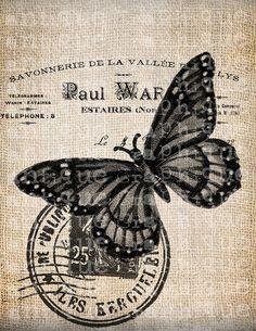 Antique French Butterfly Postmark 1800s Illustration Digital Download for Tea…