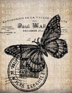 Antique French Butterfly Postmark 1800s Illustration Digital Download for Tea Towels, Papercrafts, Transfer, Pillows, etc No 7209