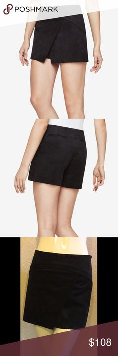 BCBGMAXAZRIA Codie faux suede short This faux suede mini is the perfect combination of skirt and short. Asymmetrical hemline, mid thigh length, concealed side zipper closure. Polyester spandex blend. Hand wash cold, dry clean recommended. BCBGMaxAzria Shorts Skorts