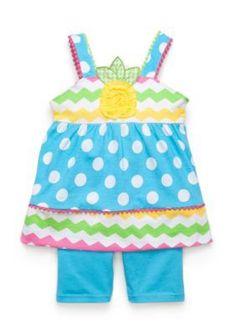 Nannette  2-Piece Chevron Dot Top and Biker Shorts Set Toddler Girls