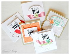 Painted Petals, Point and Click, Word Bubbles thinlits, TIEF, 3x3 cards, mini thank you