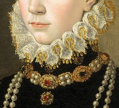 Élisabeth de Valois, by Juan Pantoja de la Cruz, 1565. Detail. Museo del Prado. Madrid, Spain. Third Wife of King Felipe II of Spain. Isabel de Valois was the daughter of King Henri II of France and Catharine of Medici. Born in 1546, married Felipe II in 1559, helping to consolidate the peace process between Spain and France. 16th Century Clothing, 17th Century Fashion, Victorian Jewelry, Antique Jewelry, Mouth Painting, Detailed Paintings, Renaissance Paintings, Gowns For Girls, Fashion Painting