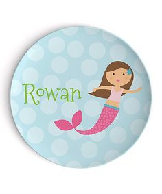 Another great find on #zulily! Brown-Haired Mermaid Personalized Plate #zulilyfinds