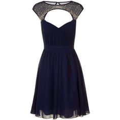 Little Mistress Navy Cut Out Embellished Dress ($76) ❤ liked on Polyvore featuring dresses, blue, cut out cocktail dresses, blue cocktail dress, reversible dress, cutout dress and navy dress