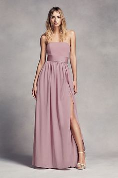 This floor-length crepe and charmeuse bridesmaid dress exudes sophistication with a straight strapless neckline and satin trapunto-stitched belt at the waist. White by Vera Wang, exclusively at David's Bridal Olive Green Bridesmaid Dresses, Vera Wang Bridesmaid Dresses, Davids Bridal Bridesmaid Dresses, Designer Bridesmaid Dresses, Bridal Party Dresses, Wedding Dresses, Bridesmaid Outfit, Wedding Poses, Special Occasion Dresses