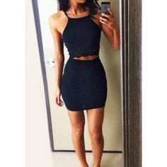 Black Two-Piece Bodycon Dress (39 CAD) ❤ liked on Polyvore featuring dresses, body conscious dress, body con dress, bodycon dress, two piece bodycon dress and two piece cocktail dresses