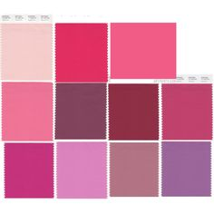 """""""Cool and Relaxed (Potential Romantic Colours from David Zyla's book)"""" by xaraxia on Polyvore:  Seashell Pink, Geranium, Watermelon, Strawberry Pink, Maroon, Deep Claret*, Red Claret*, Fuchsia Rose, Fuchsia Pink, Dusty Rose, Mulberry.  I may be close to swatch # 6-7."""