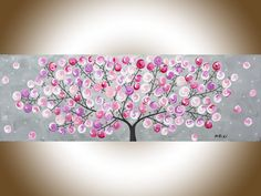 Original Pink grey abstract painting whimsical art by QiQiGallery