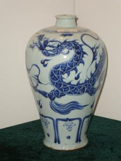 Antique Chinese Porcelain Meiping Vase, Yuan Dynasty Circa 1320. A.D. Decorated with Dragon among clouds, in a rich, Cobalt blue.  In Excellent condition.