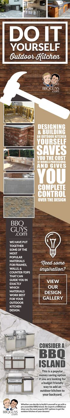 Thinking of building a DIY outdoor kitchen? Designing and building your #outdoorkitchen yourself saves you the cost of hiring a professional and gives you complete control over the design. Whether you decide to build it yourself or go with a pre assembled #BBQ Island, the experts at BBQGuys show you the most popular #diy options to get the outdoor kitchen of your dreams!