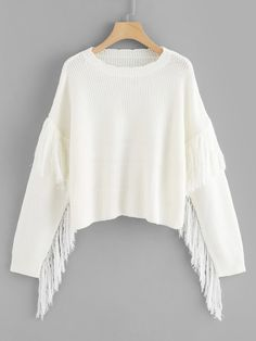 To find out about the Scalloped Neck Fringe Applique Jumper at SHEIN, part of our latest Sweaters ready to shop online today! Fashion News, Girl Fashion, Fashion Outfits, Jumper, Casual Sweaters, White Style, Pulls, Street Wear, Clothes For Women
