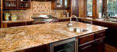 Beautiful mid century brown granite kitchen countertop close up
