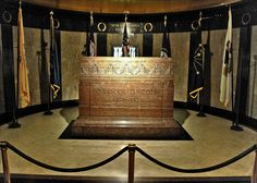 This is the tombstone of Abraham Lincoln inside the burial chamber located at the Lincoln Tomb in Oak Ridge Cemetery in Springfield, Illinois. On September 26, 1901, Lincoln's coffin was permanently placed in a large, steel cage and embedded in concrete 10 feet below the floor under his tombstone.     President Lincoln died on April 15, 1865, in Washington, D.C., at the age of 56.